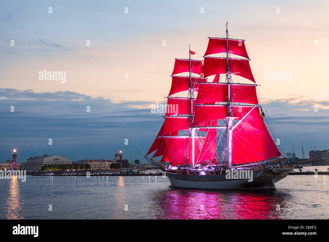 Celebration Scarlet Sails show during the White Nights Festival, St. Petersburg, Russia. Ship entering Neva river - Stock Image