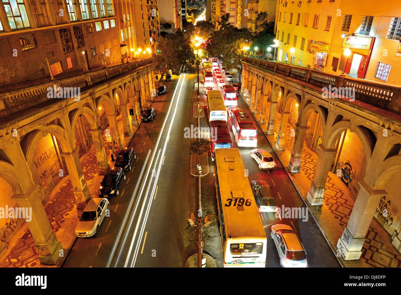 Brazil Porto Alegre Evening Traffic Jam At The Viaduto Borges De Medeiros