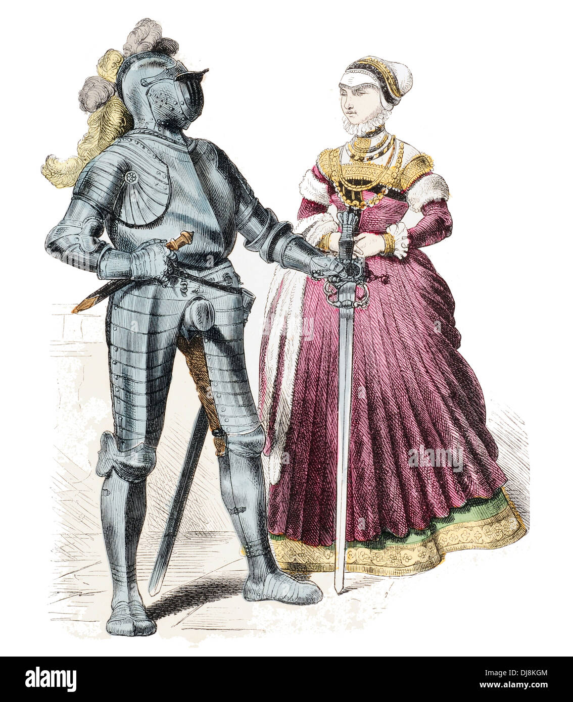 late 16th Century XVI German armoured citizen and citizeness - Stock Image