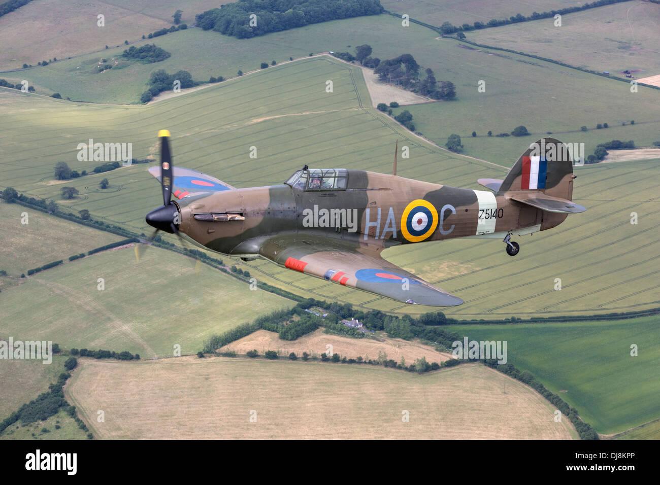 A classic World War 2 Hawker Hurricane fighter - Stock Image
