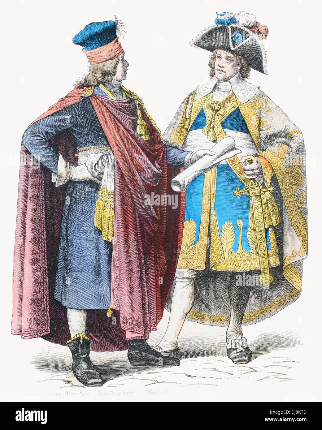 18th century XVIII France Members of the Directory in Gala Dress French Revolution - Stock Image