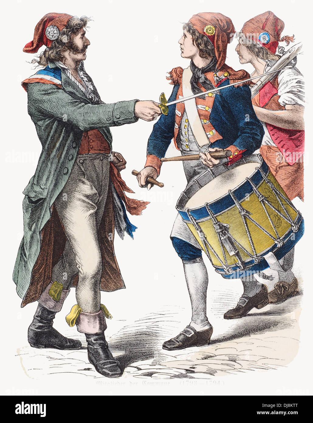 Late 18th century XVIII French Revolution Paris members of the Commune - Stock Image