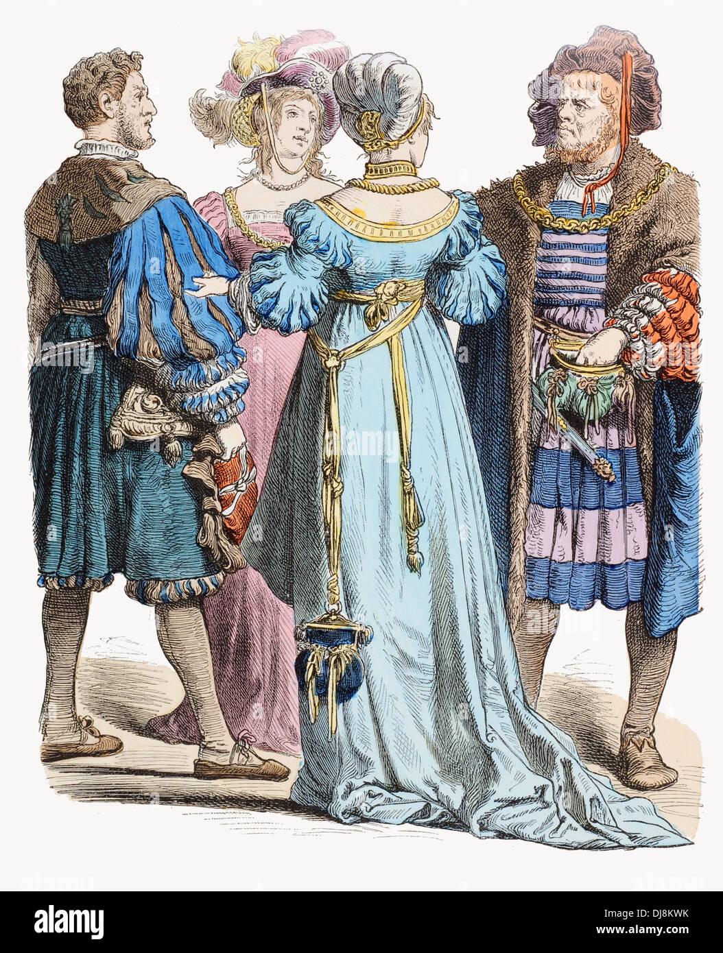 16th Century XVI  German citizens dress - Stock Image