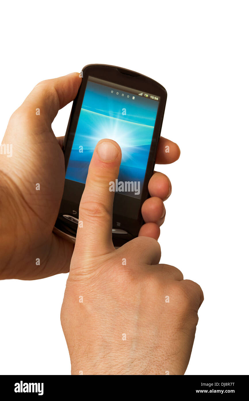 man tapping on a touchscreen smartphone - Stock Image