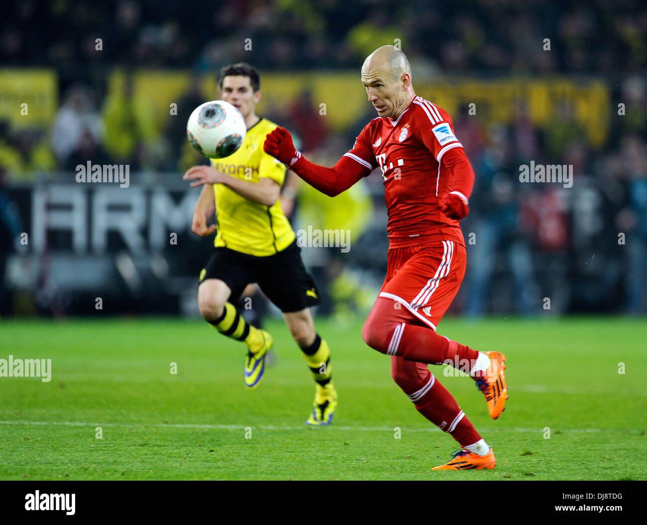Dortmund, Germany November 23rd 2013, German Football Bundesliga Season 2013/14 matchday 13, Borussia Dortmund (BVB) vs.  FC Bayern Munich (Muenchen, Munchen, FCB) 3:0 --- Arjen Robben (FCB) - Stock Image