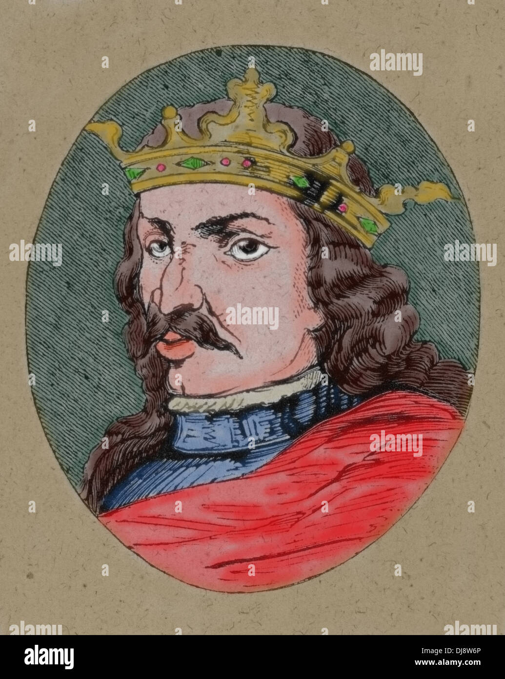 Henry IV of Castile (1425-1474). King of the Crown of Castile. Nicknamed The Impotent. Colored engraving. - Stock Image