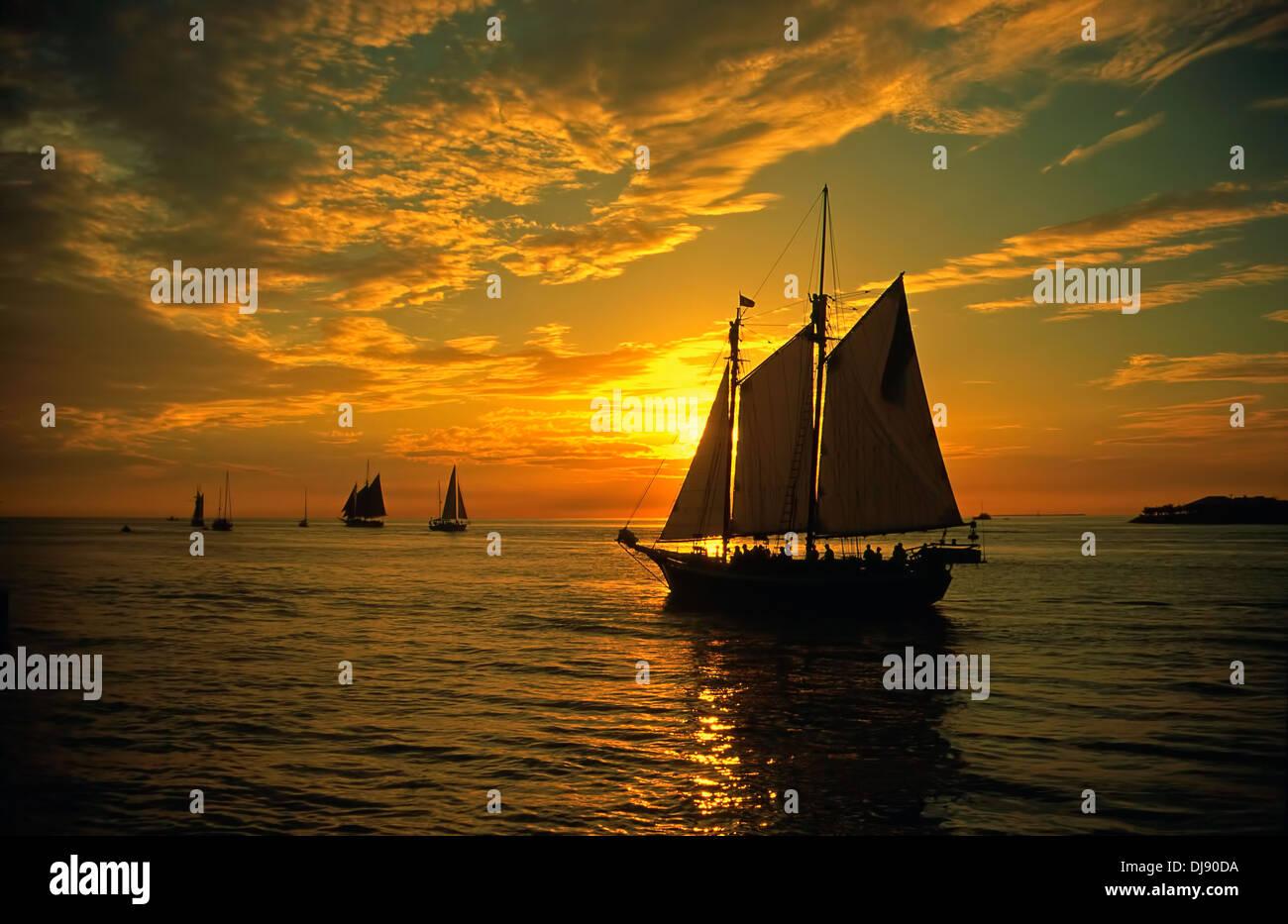 Sailing Boat Sunset Key West Florida United States of America - Stock Image
