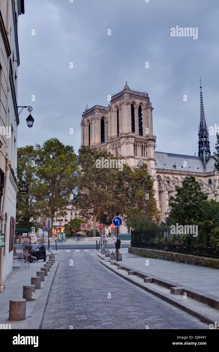 Looking towards Notre Dame de Paris cathedral. - Stock Image