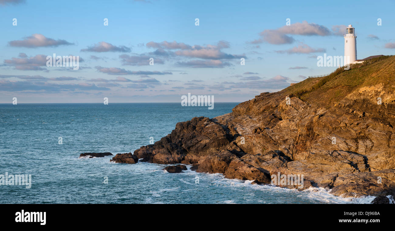 The lighthouse at Trevose Head near Padstow on the north coast of Cornwall Stock Photo