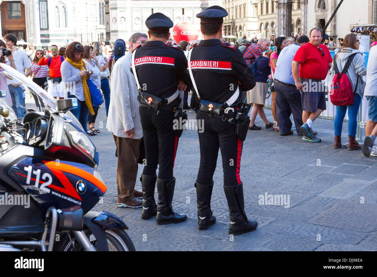 Carabinieri Police Men Watching A Crowd Of People Florence Italy Dj Ea