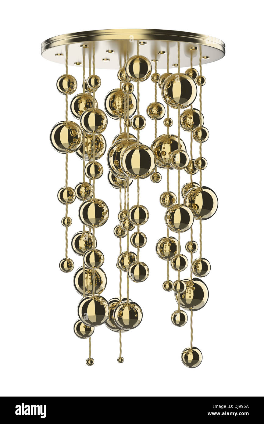 Gold Chandelier Isolated On White Background
