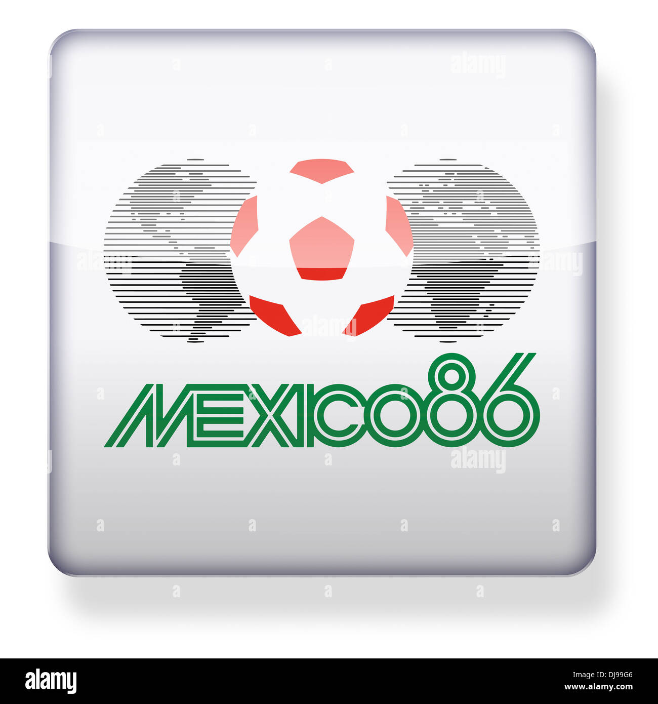 Mexico 1986 World Cup logo as an app icon. Clipping path included. - Stock Image