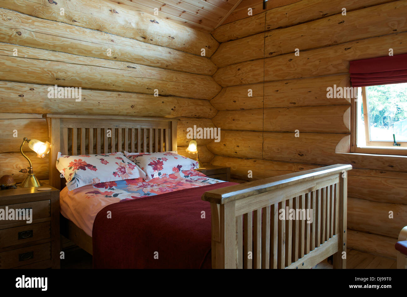 Bedroom in Eco Log Cabin, Shrophsire, UK - Stock Image