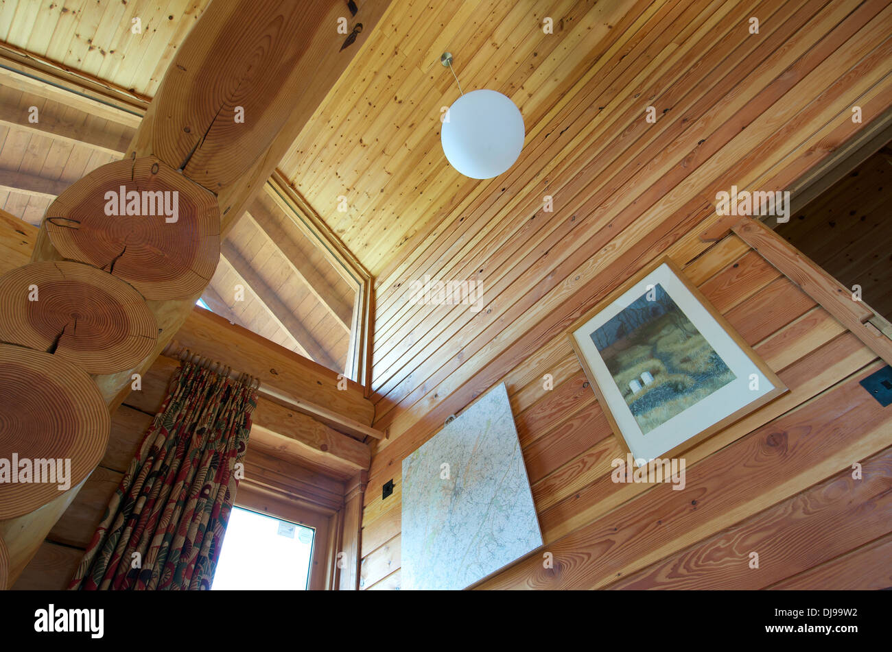 Ceiling of Eco Log Cabin, Shrophsire, UK - Stock Image