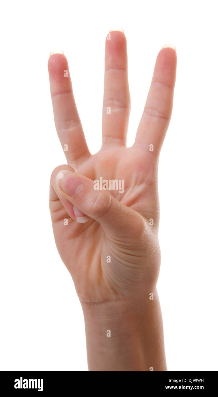 Hand is counting number 3 over white background - Stock Image