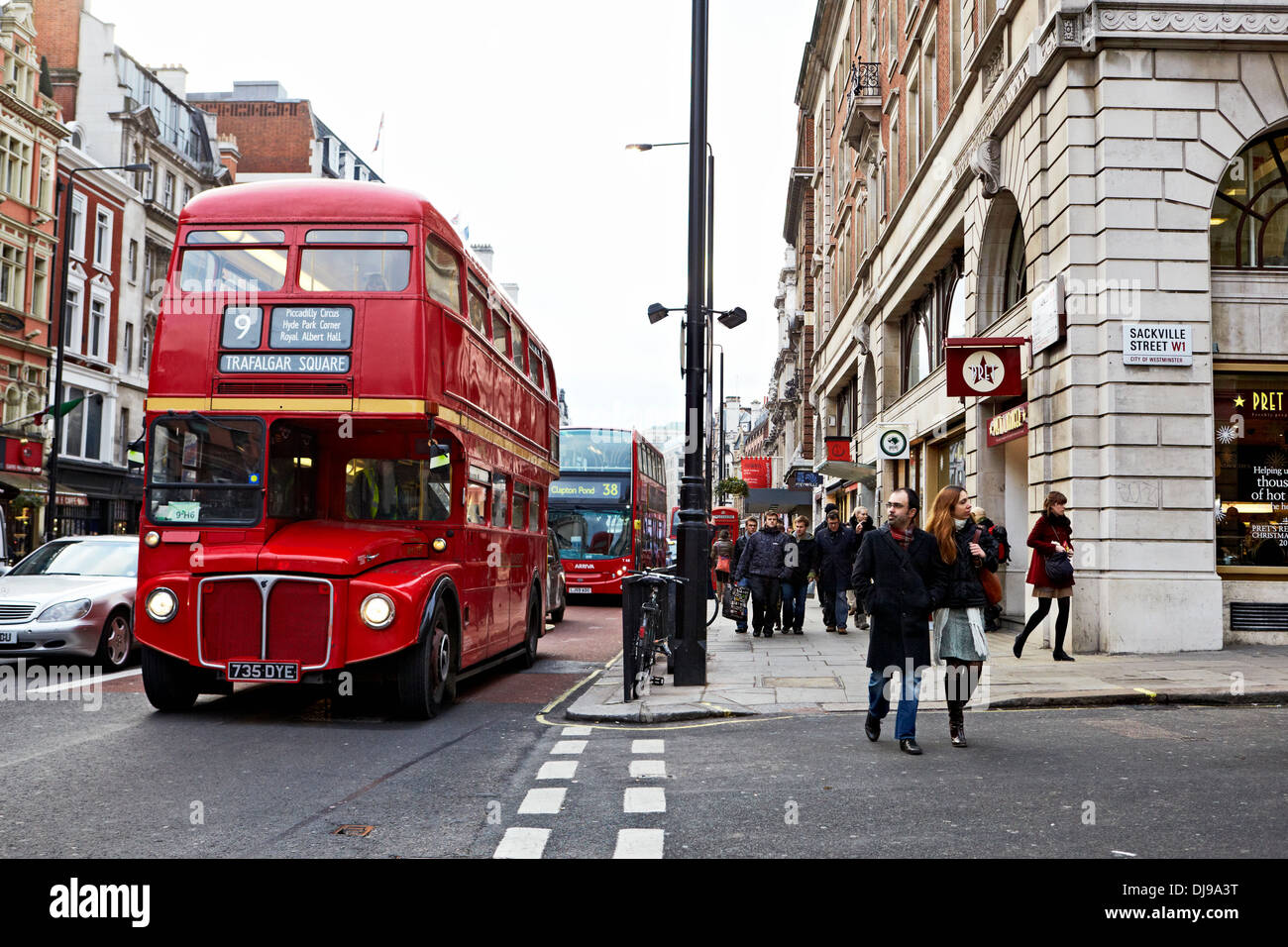 Picadilly Street, London, England, UK, Christmas, Shopping, Winter - Stock Image