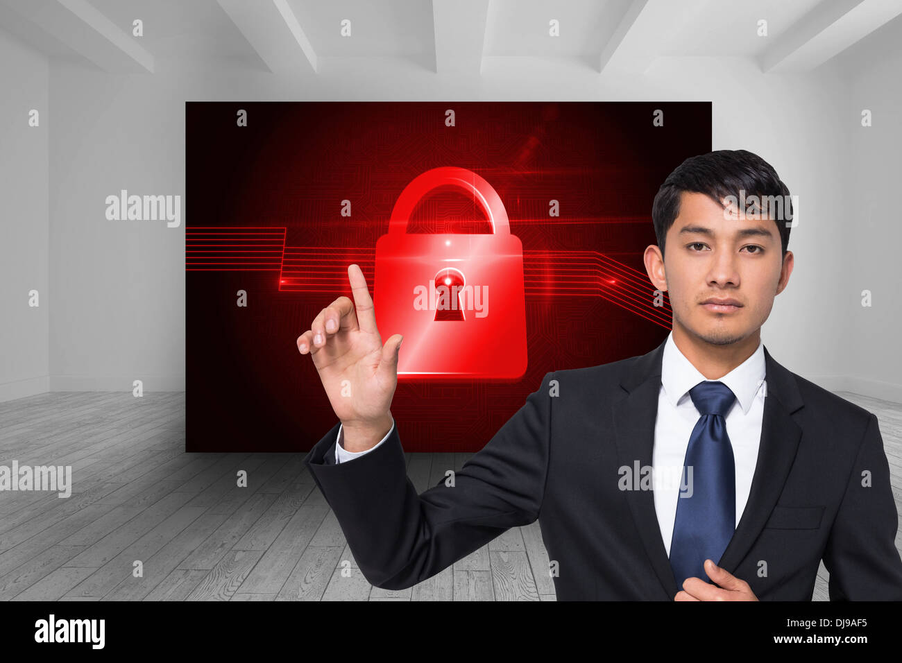 Businessman Touching Virtual Circuit Board Stock Photos Virtualcircuit Composite Image Of Unsmiling