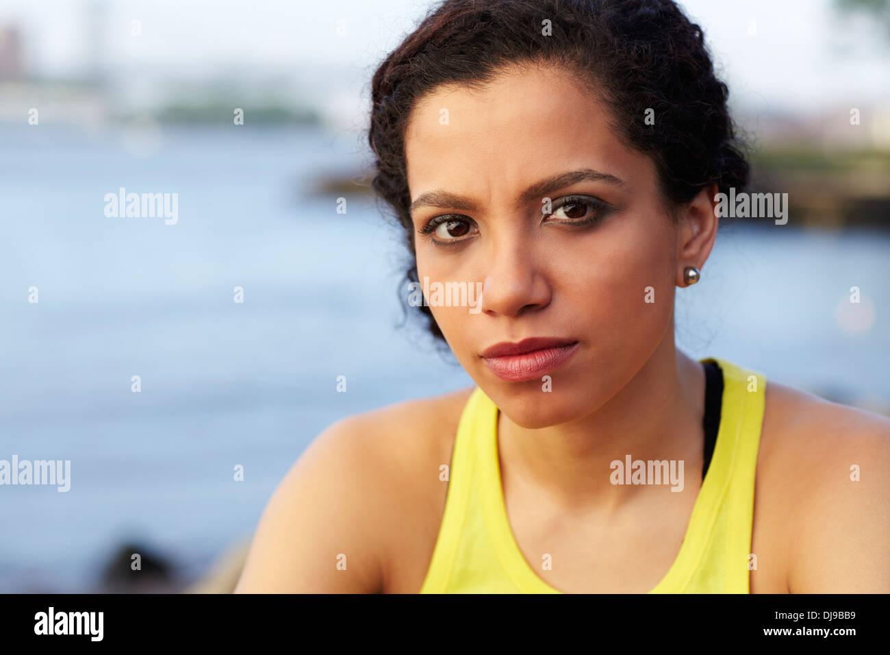Close up of mixed race woman's face Stock Photo