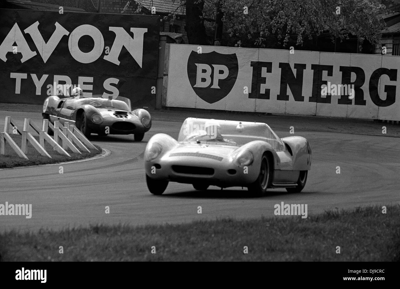 Moss Allisonu0027s UDT Team Lotus 19 Sports Car Leading Dickson Nayloru0027s Cooper  Monaco Aintree