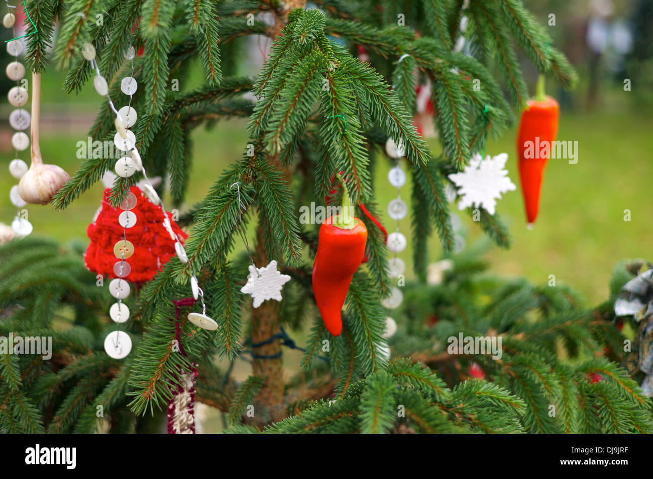 Home Made Christmas Tree Decorations Uk Stock Photo