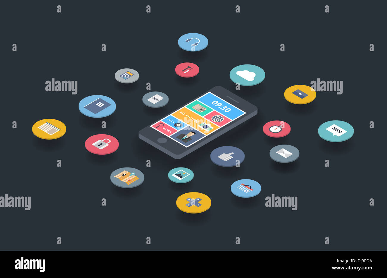 Illustration concept of variety using of smartphone with lots of multimedia icons and stylish mobile user interface on the phone - Stock Image