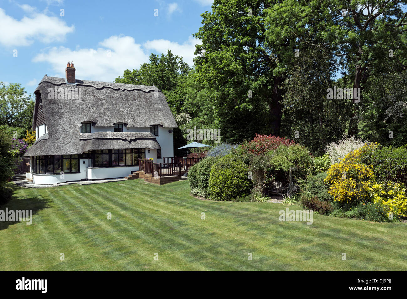 Thatched roof cottage - Stock Image