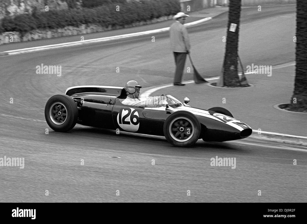 Tony Maggs in the Cooper T56 at the Station Hairpin, Formule Junior race at the Monaco Grand Prix, 13 May 1961. - Stock Image