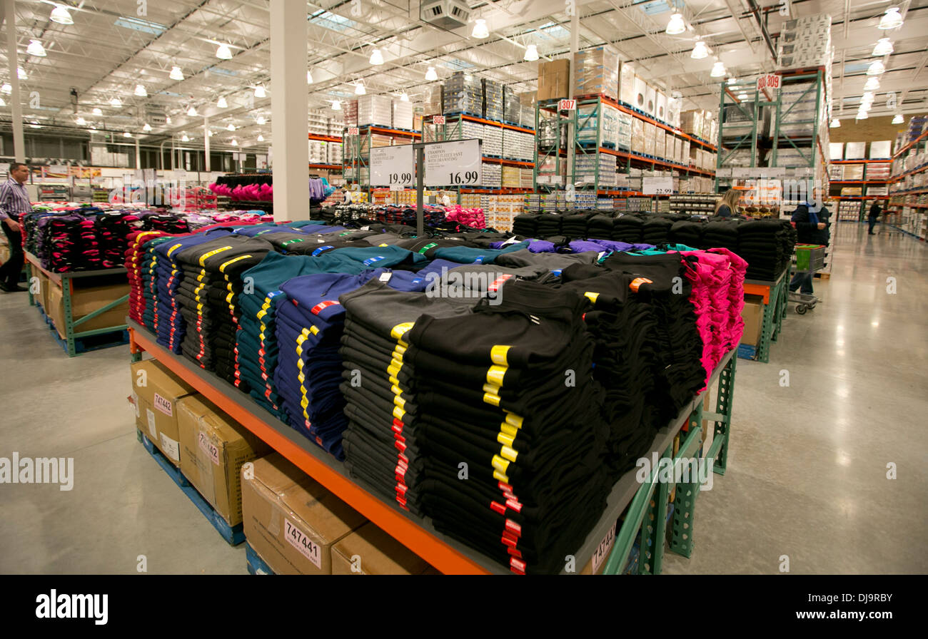 COSTCO  warehouse club fully stocked with merchandise sold in bulk at newly opened store in Cedar Park, Texas - Stock Image