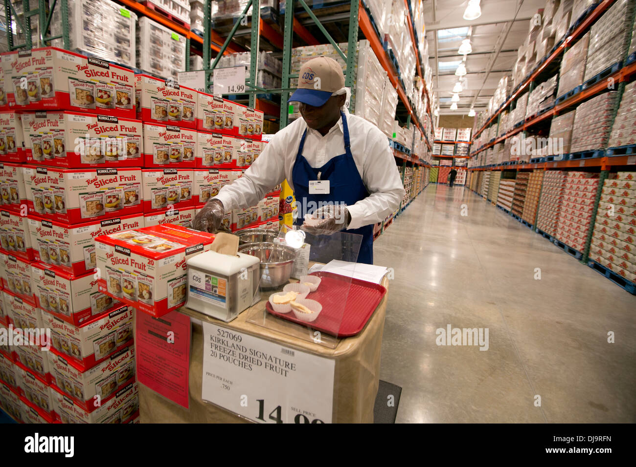 Food samples given out to costco warehouse store shoppers at new.
