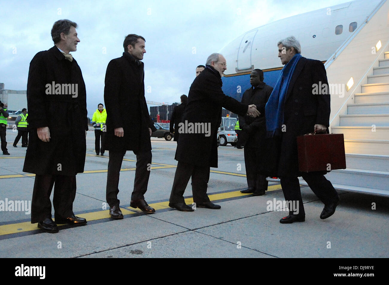 Secretary Kerry Greeted Upon Arrival in Geneva - Stock Image