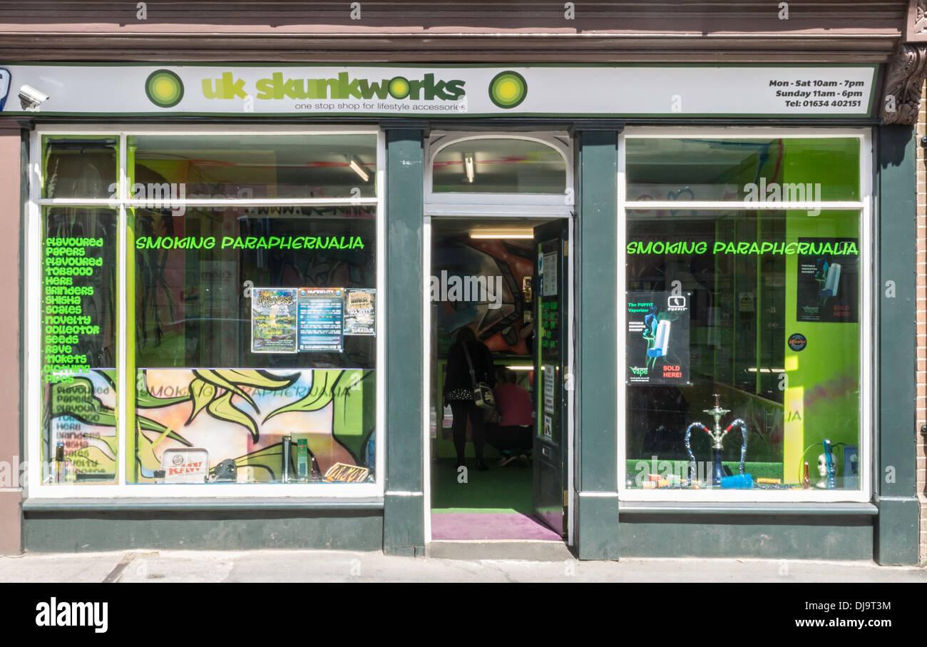 UK Skunkworks Shop Frontage for Sale of Legal Drugs - Stock Image