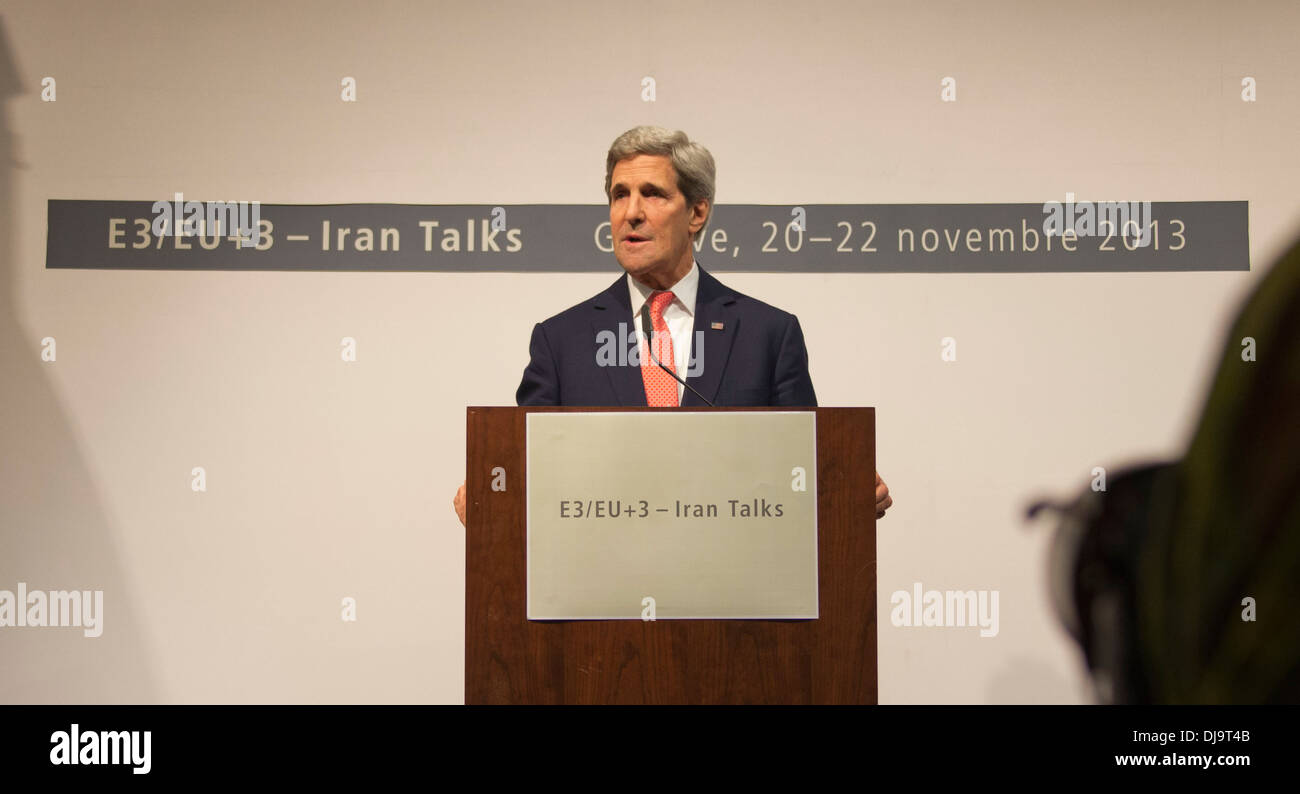 Secretary Kerry Speaks to the Media in Geneva, Switzerland - Stock Image