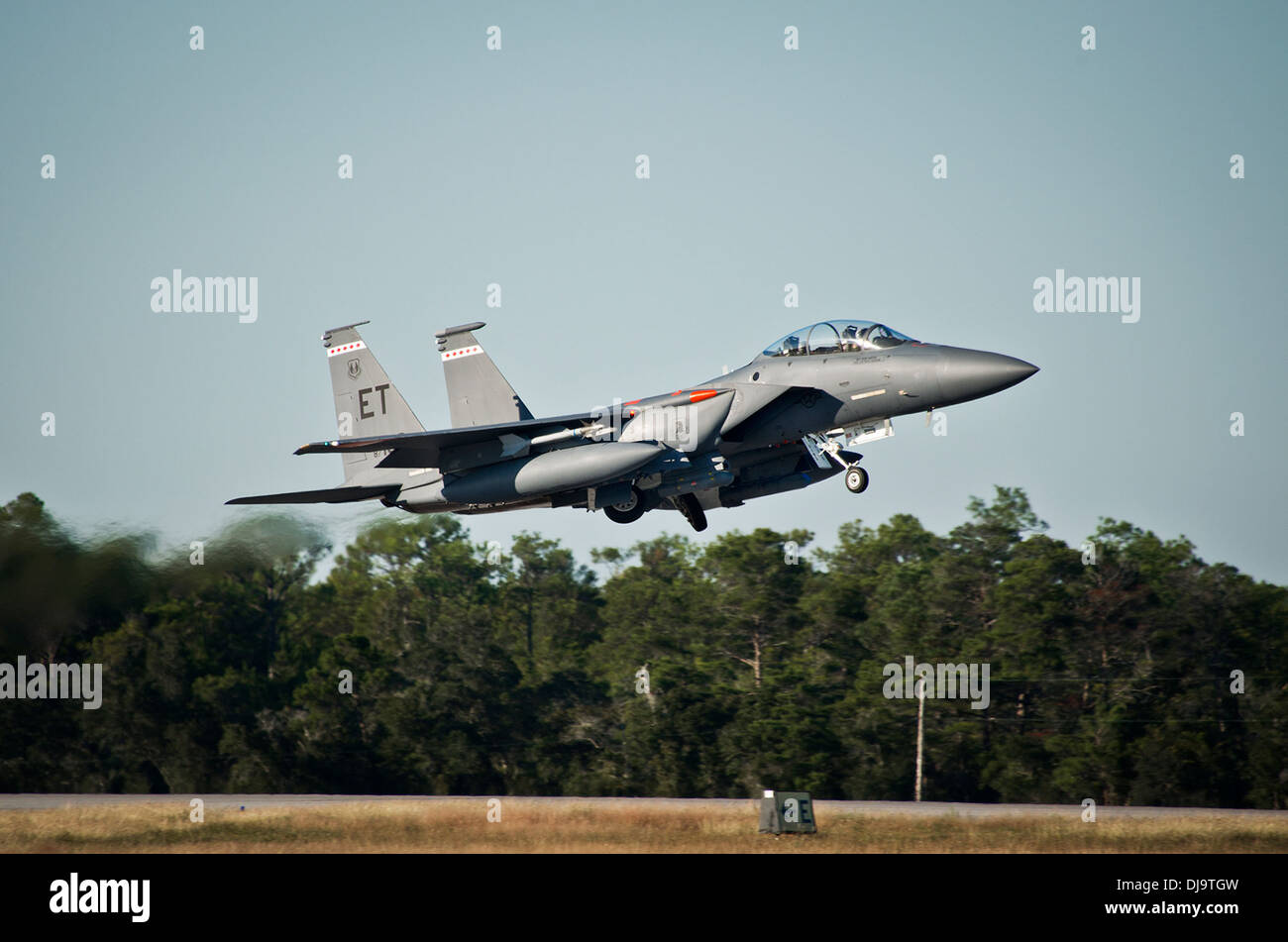 An F-15 from the 40th Flight Test Squadron takes off for a training sortie from Eglin Air Force Base, Fla. The 40th FTS is responsible for developmental flight testing for F-15s, F-16s and A-10s for the 96th Test Wing. - Stock Image