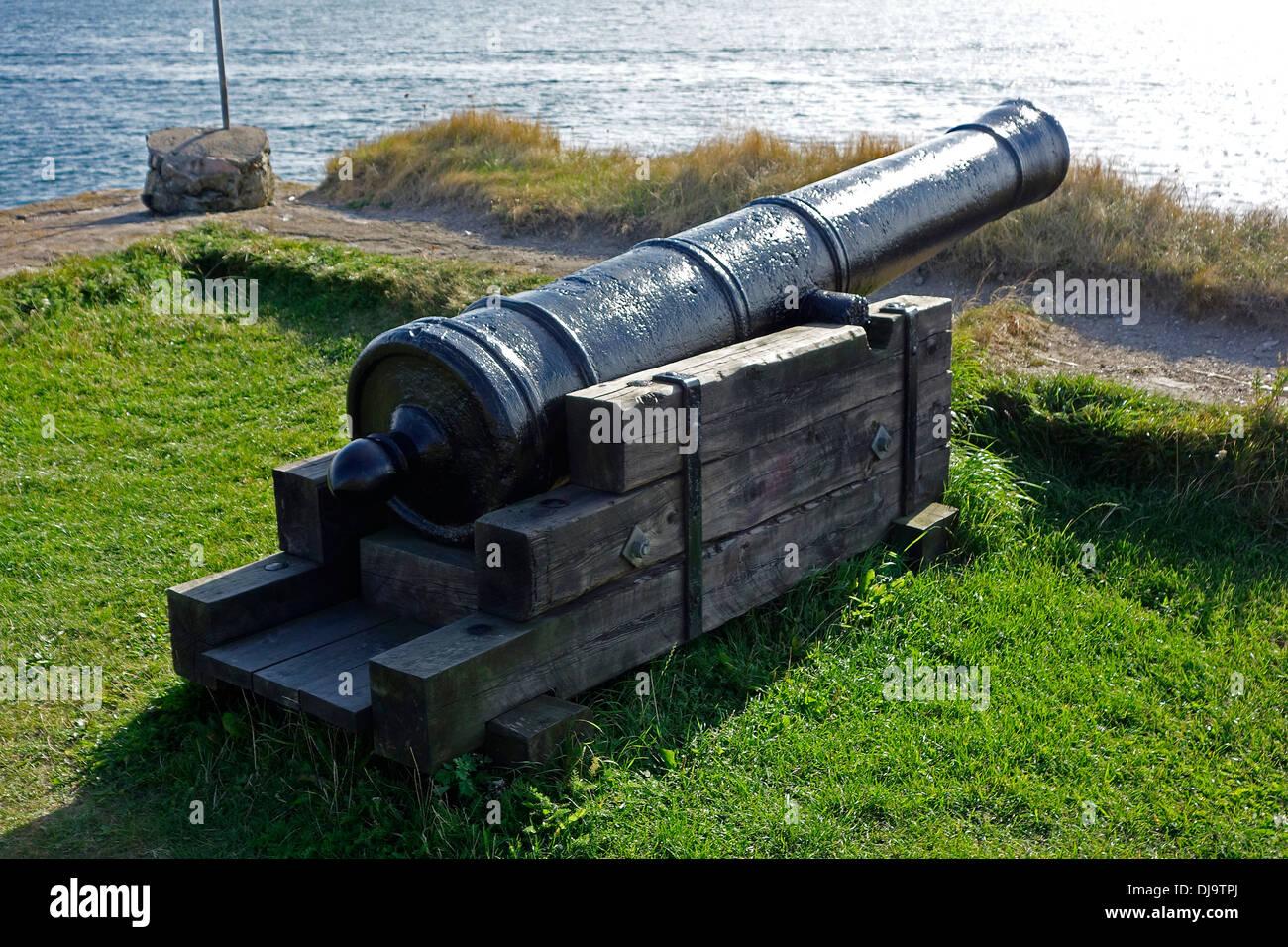 Seacoast defense 18th century garrison canon on Älvsborg (Elfsborg) fortress - Stock Image