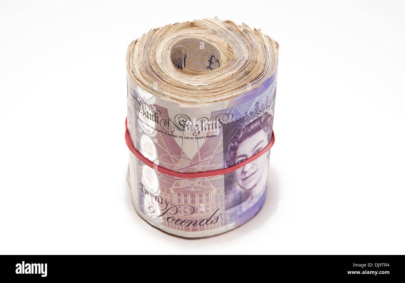 wad of twenty pound notes - Stock Image