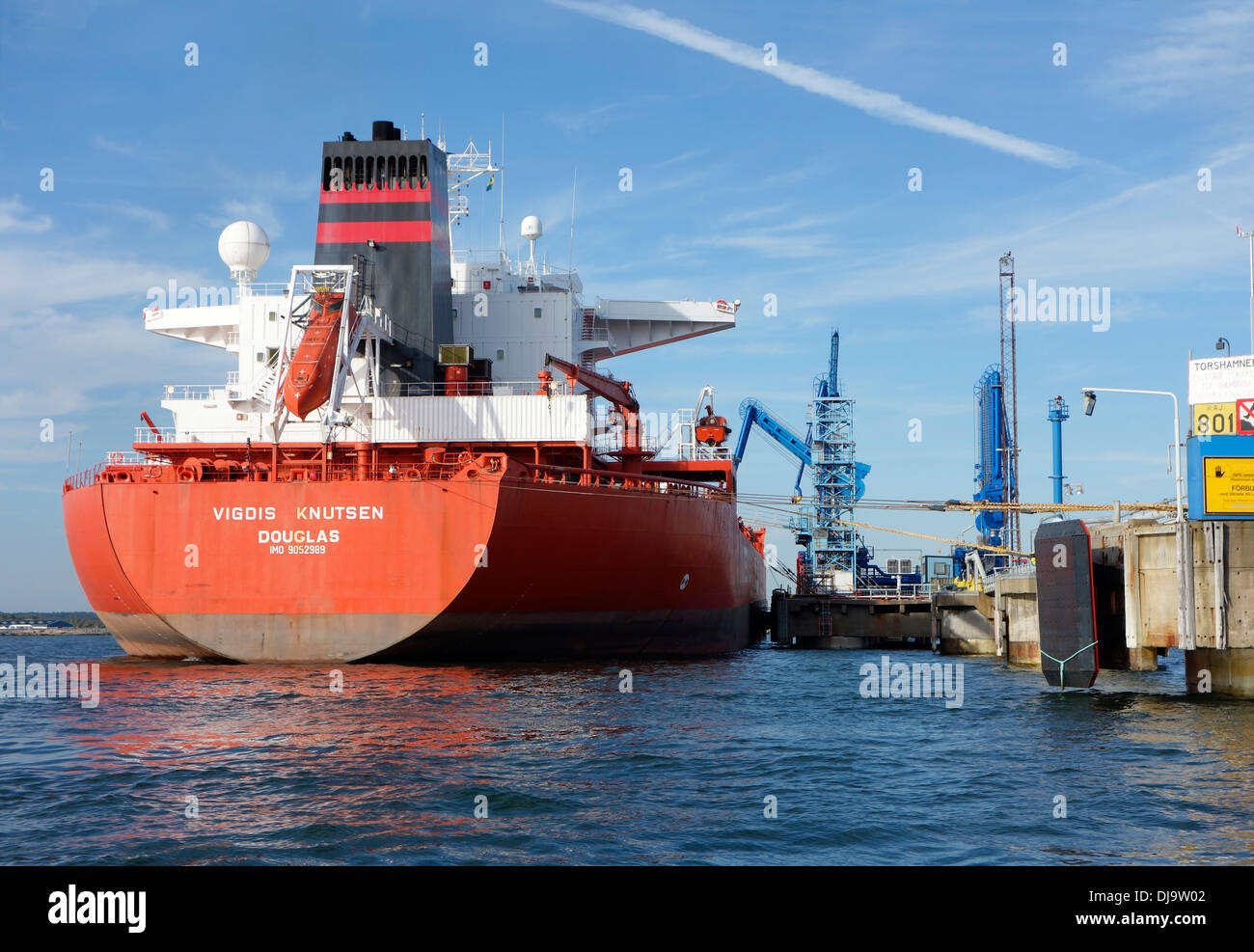Tanker during loading operation - Stock Image
