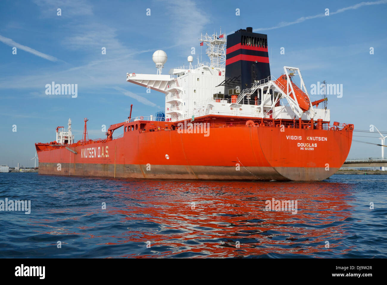 Tanker during loading operation in the largest energy port in the Nordic Region. Gothenburg Energy Harbour. Sweden - Stock Image