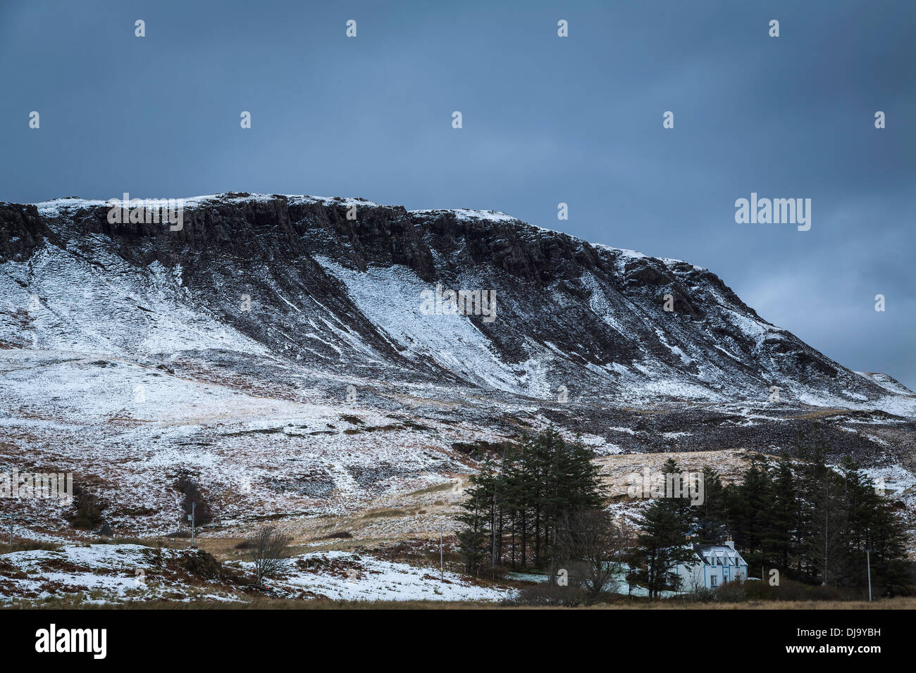 Snow dusted scree slopes of Ben Meabost near Elgol, Isle of Skye, Scotland - Stock Image