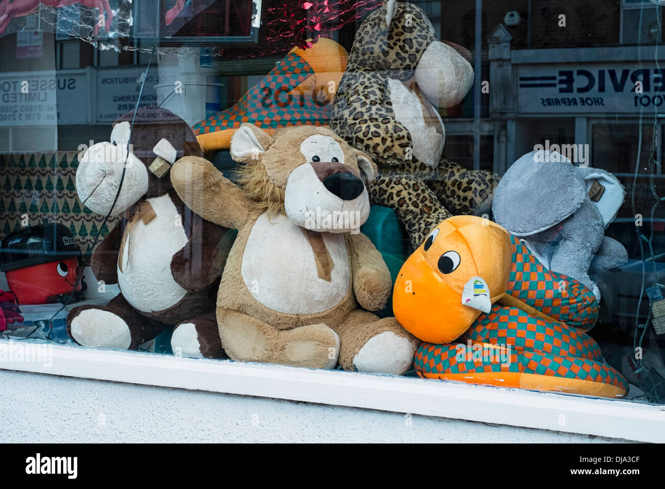 Used soft toys in a shop window - Stock Image