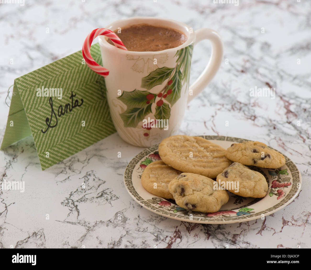 Christmas Cookie Plate With Hot Cocoa For Santa Stock Photo