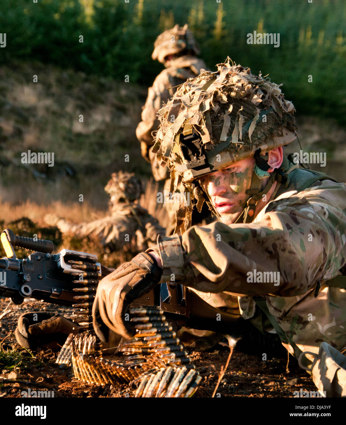 British Army soldiers from the Rifles on exercise - Stock Image