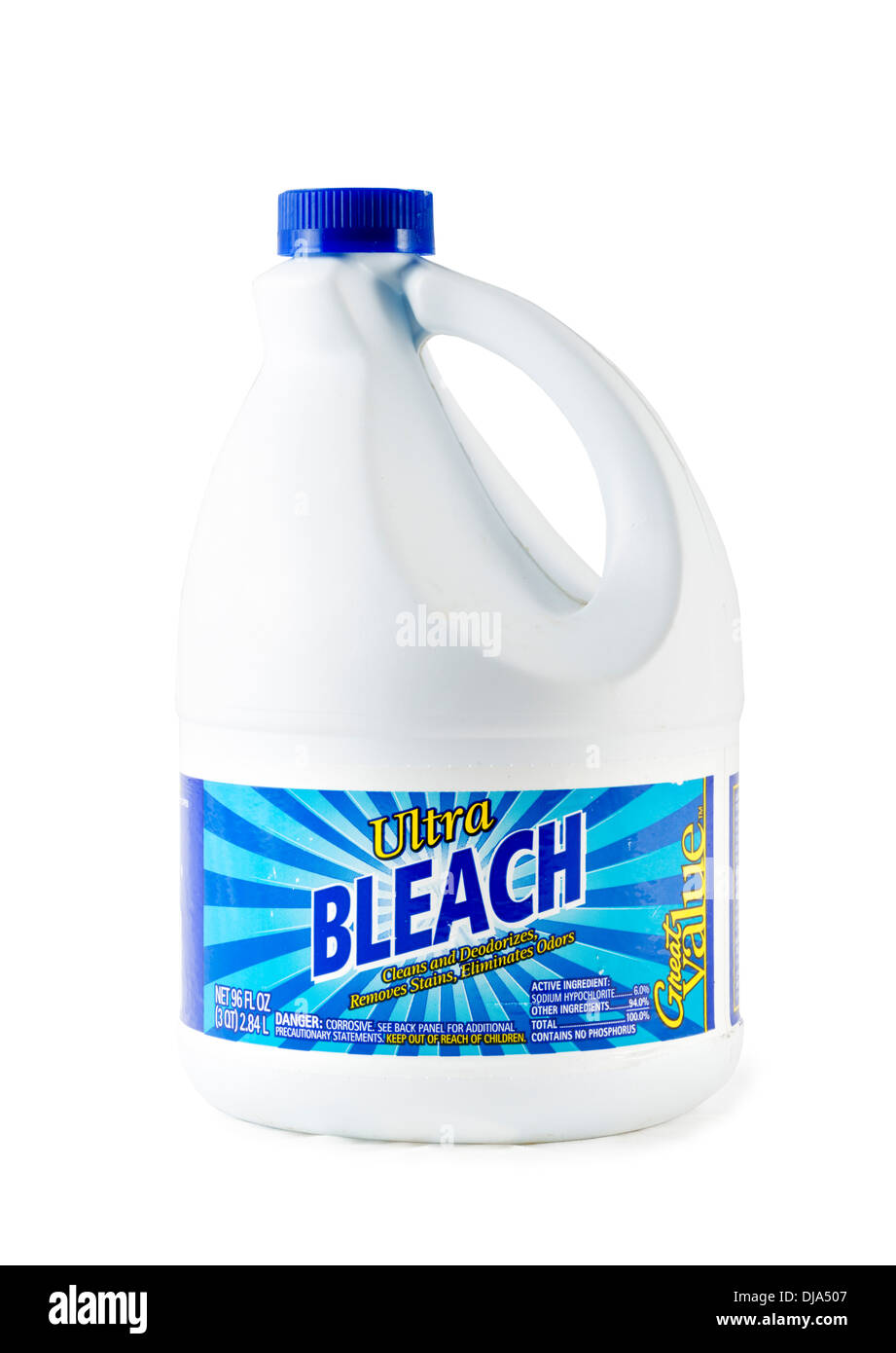 Container of household bleach, USA - Stock Image