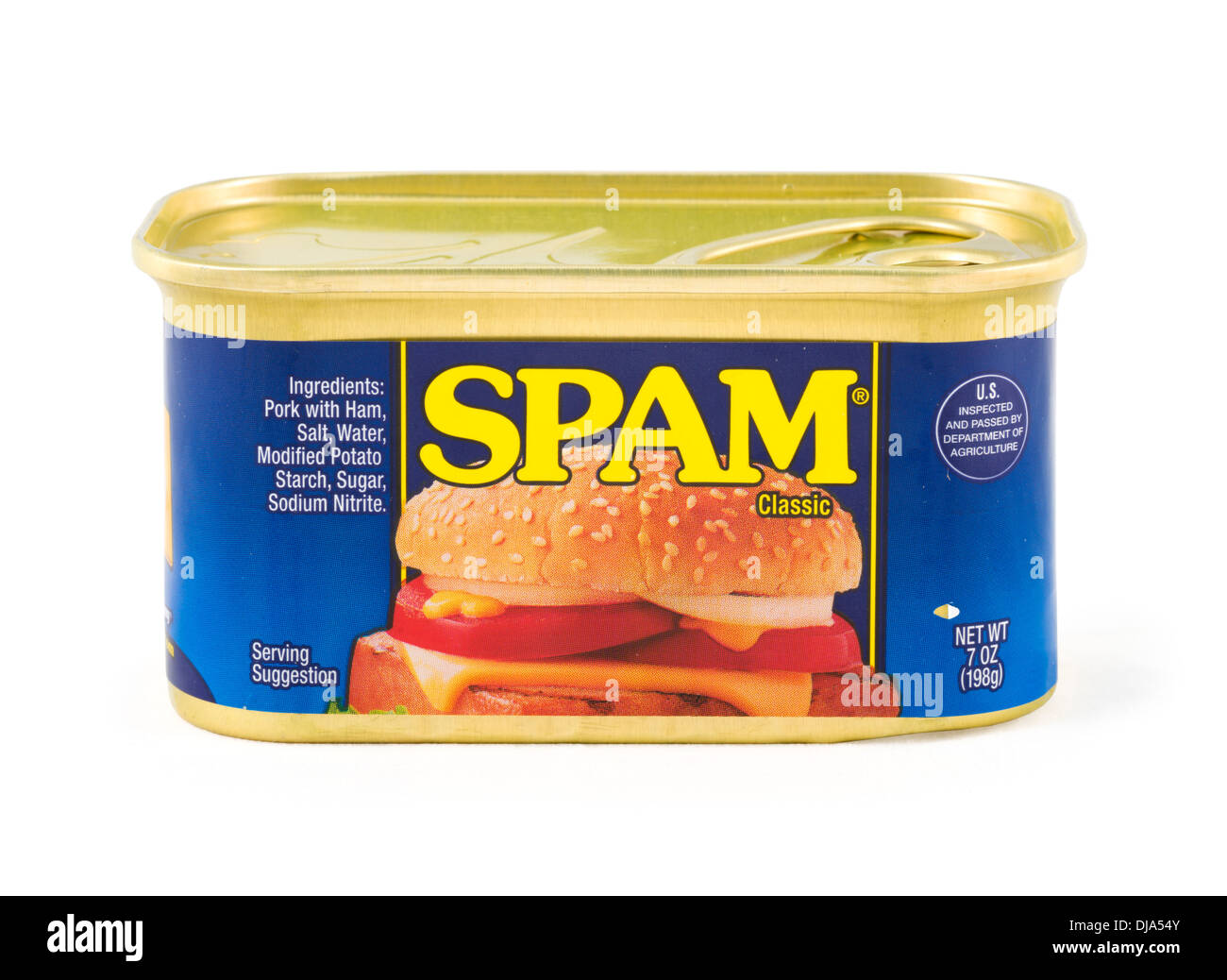 Tin of Spam processed meat, USA - Stock Image