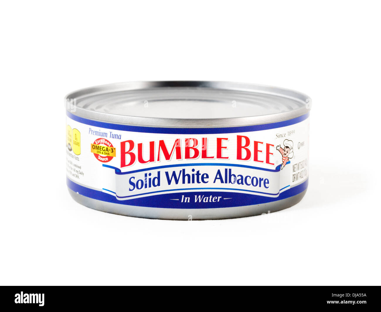Tin of Bumble Bee Solid White Albacore Tuna, USA - Stock Image