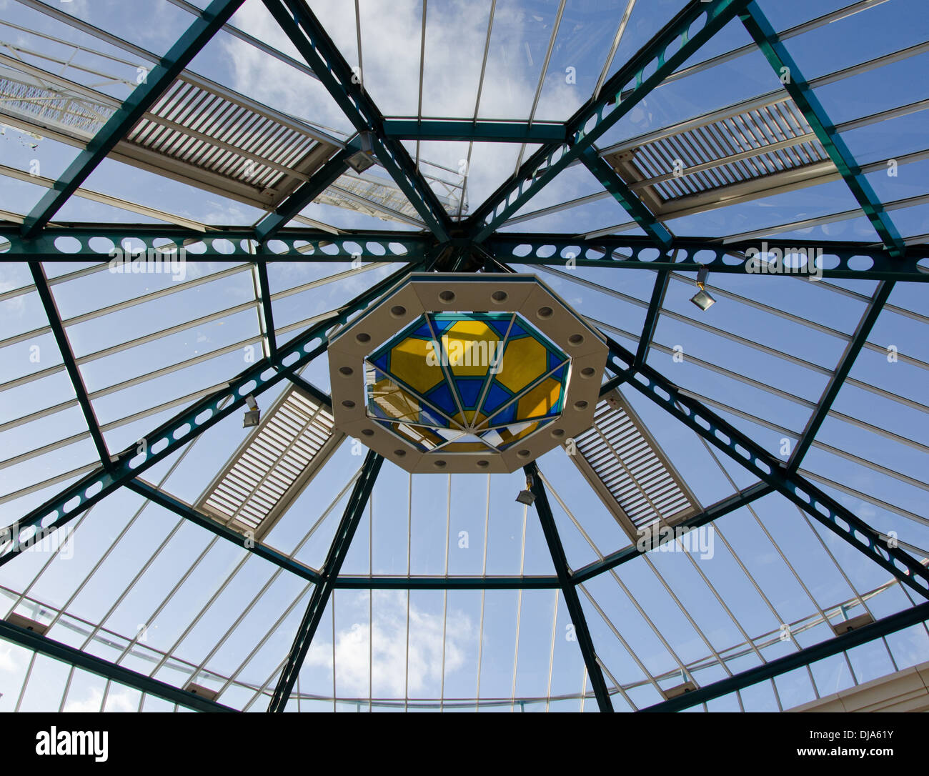 The glass roof ceiling of promenades shopping centre in Bridlington Uk - Stock Image