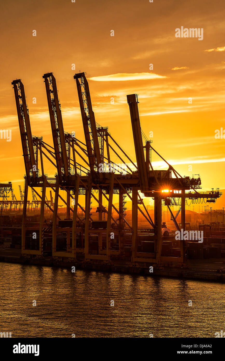 Cranes await a shipping freighter to load with cargo, Barcelona, Spain - Stock Image