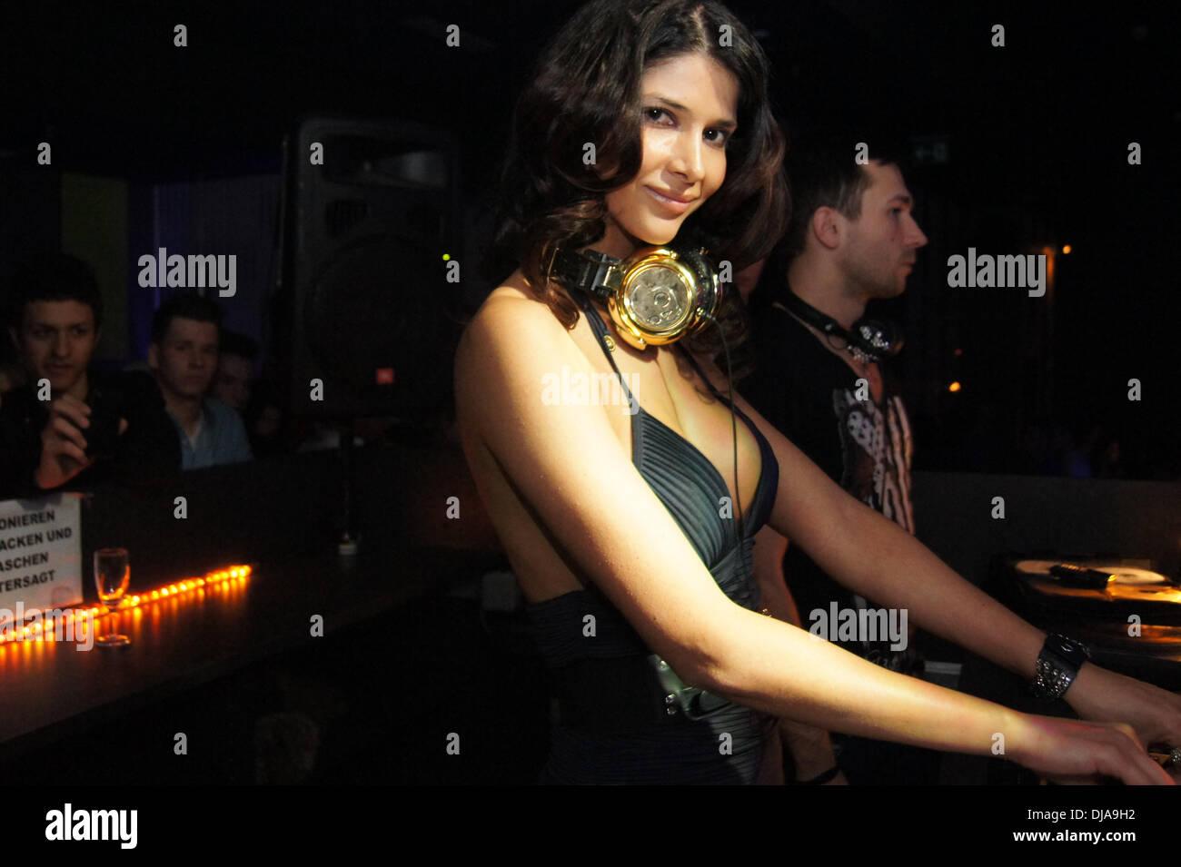 Micaela Schaefer DJing inside Club. Berlin, Germany. 29.03.2012 - Stock Image