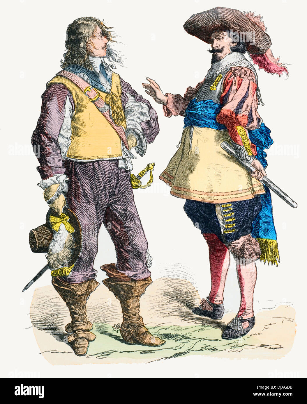 17th century XVII 1638 1640 English soldier (left) Flanders 1640 1650 soldier (right) Stock Photo