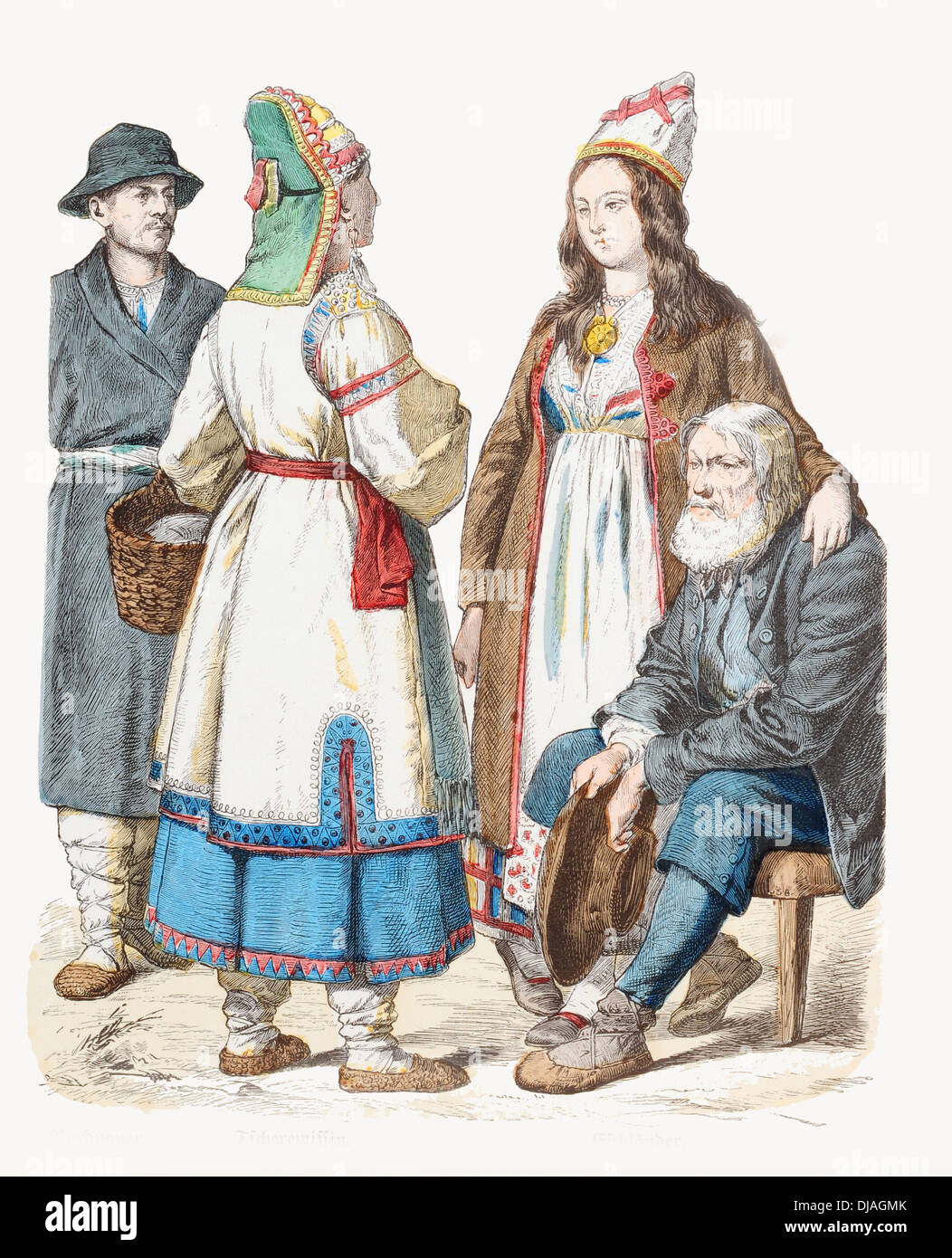 19th century XIX Russia Left to right Mordovian Finns of the Volga and Estonian couple - Stock Image
