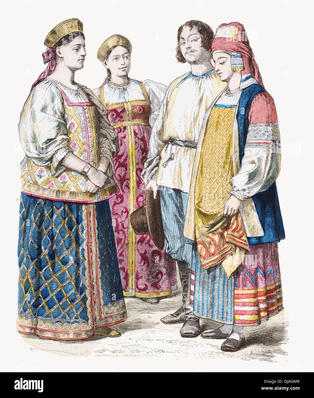 19th century XIX Russia Left to right Ladies of Jaroslaw, Tvier Poland and a couple from kaluga brocade embroidery cotton fabric - Stock Image